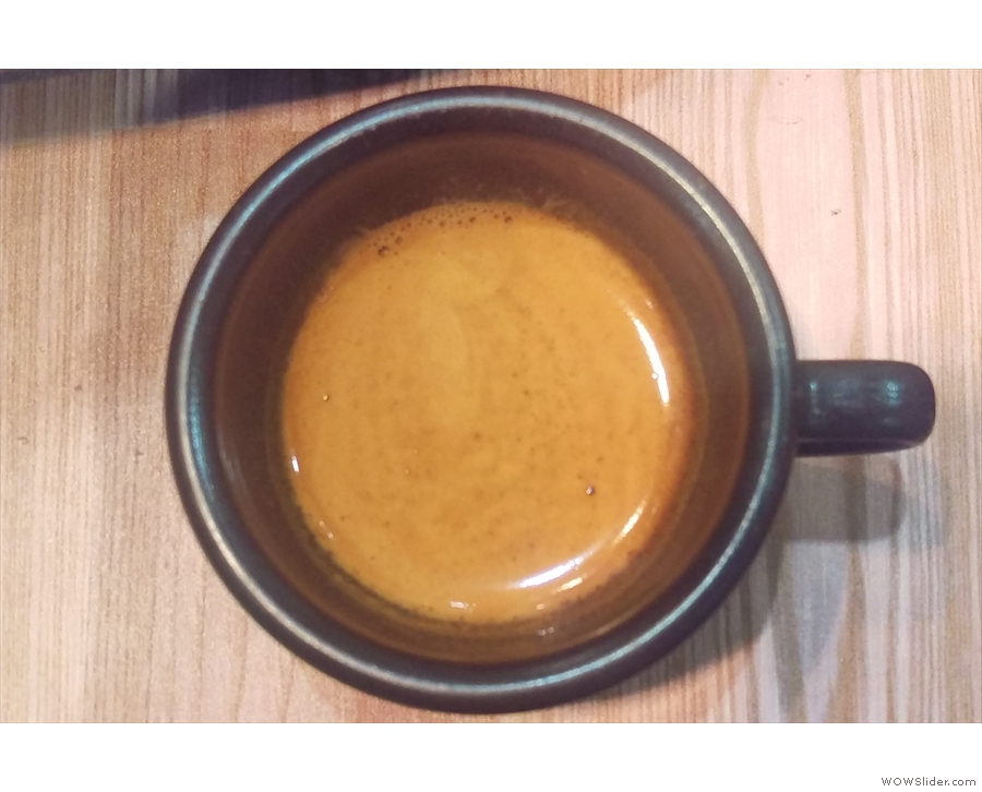 ... a lovely shot of Hope & Glory's Blenheim Blend in my Kaffeeform cup.