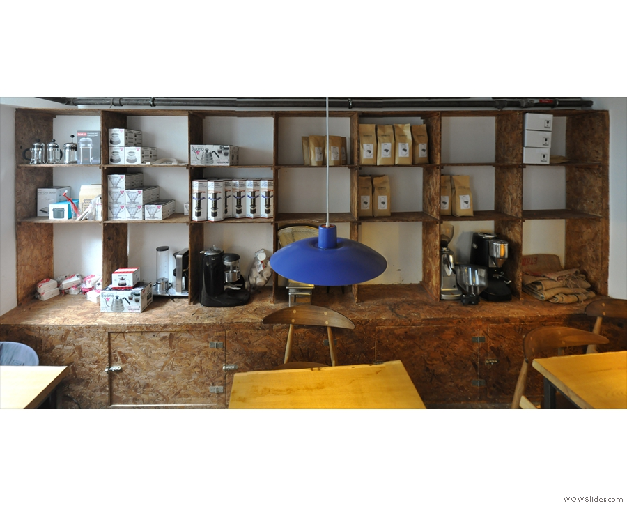 It's another cosy space where the Copenhagen Coffee Lab has its retail shelves.