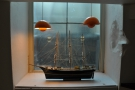 The Copenhagen Coffee Lab is full of neat touches, including this model ship on a windowsill.