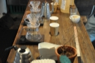 ... with a pair of V60s on the counter, where you can sit and watch your coffee being made.