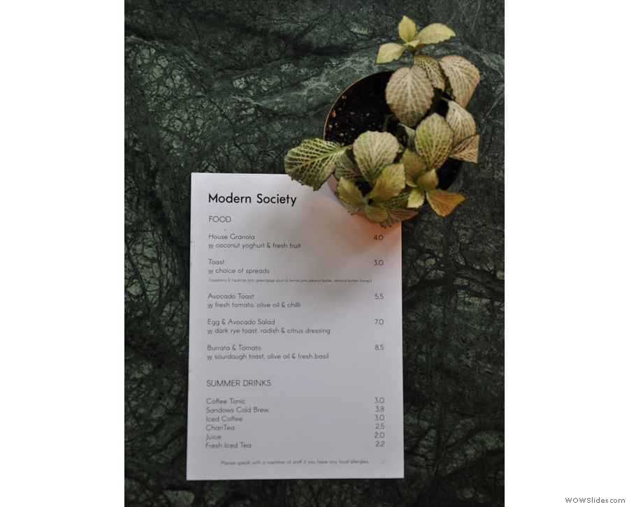 A close-up of the food menu, which is just as concise as the coffee menu.