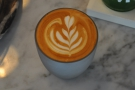 Here's some of the coffee: a 6oz (flat white) for Jess...