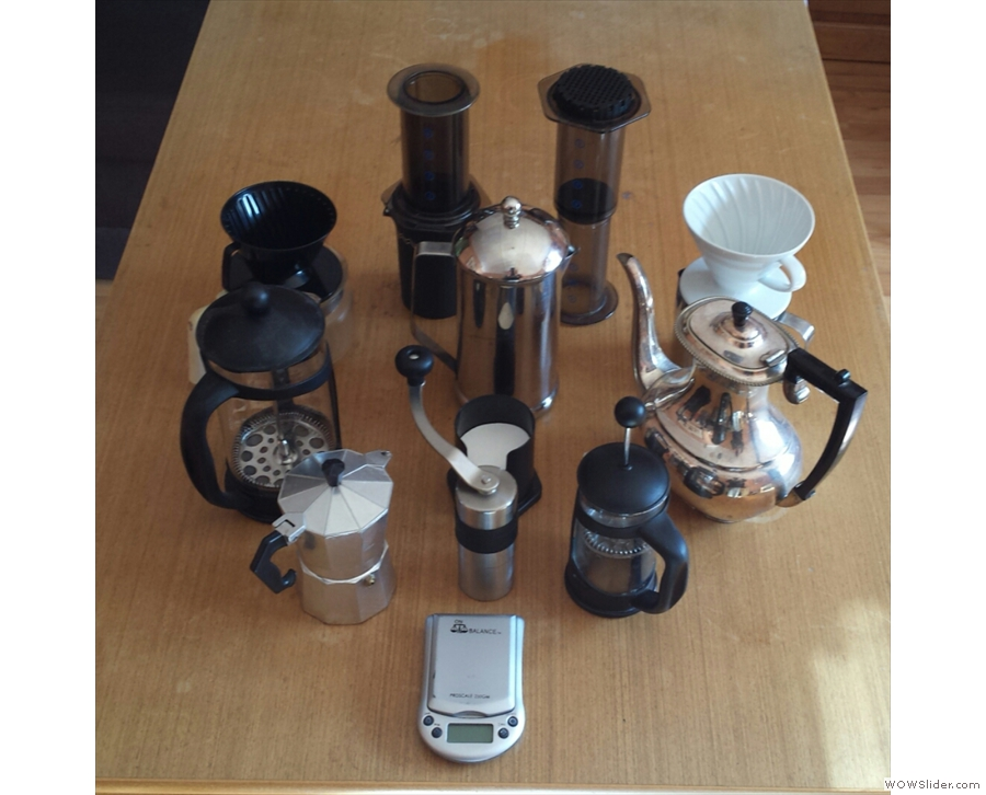 This was my complete collection of filter coffee kit two years ago. There's more now!