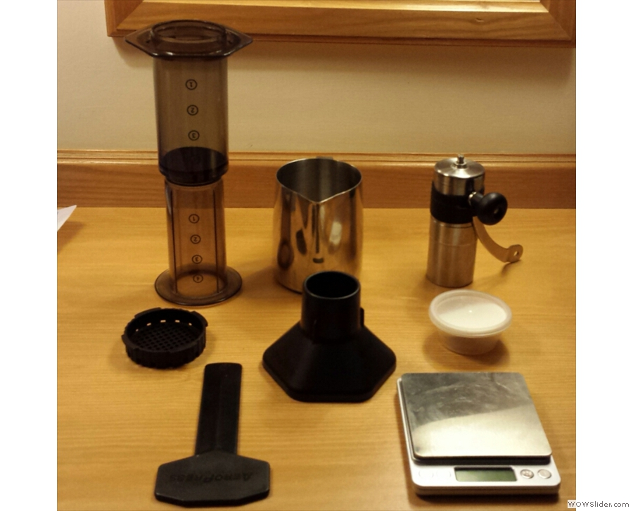 ... while this is the selection of kit I took to a hotel. Note the jug, used for pouring water.
