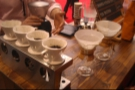Matthew Algie built a brew bar, with the pour-over filters on the left and the Chemex on the right.