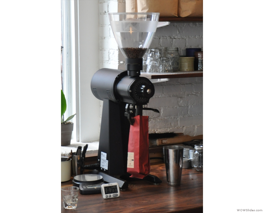 The EK-43 is for grinding the filter coffee, plus retail bags (as required) & the decaf espresso.
