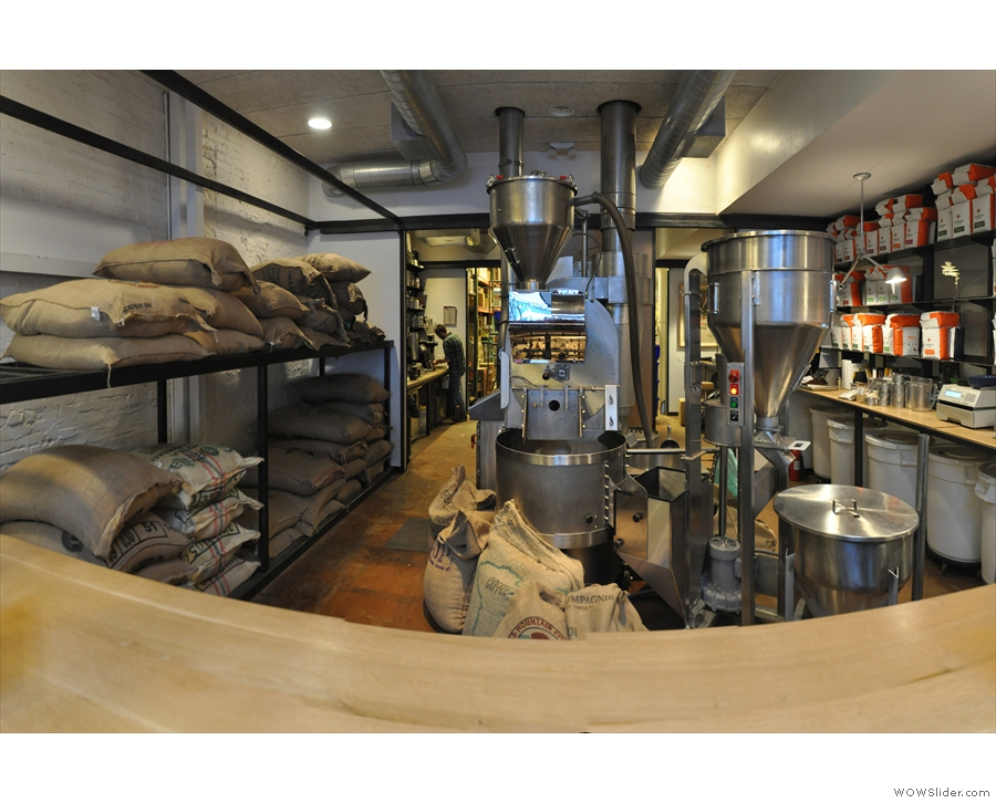 ... which overlooks this, Compass Coffee's in-house roastery.