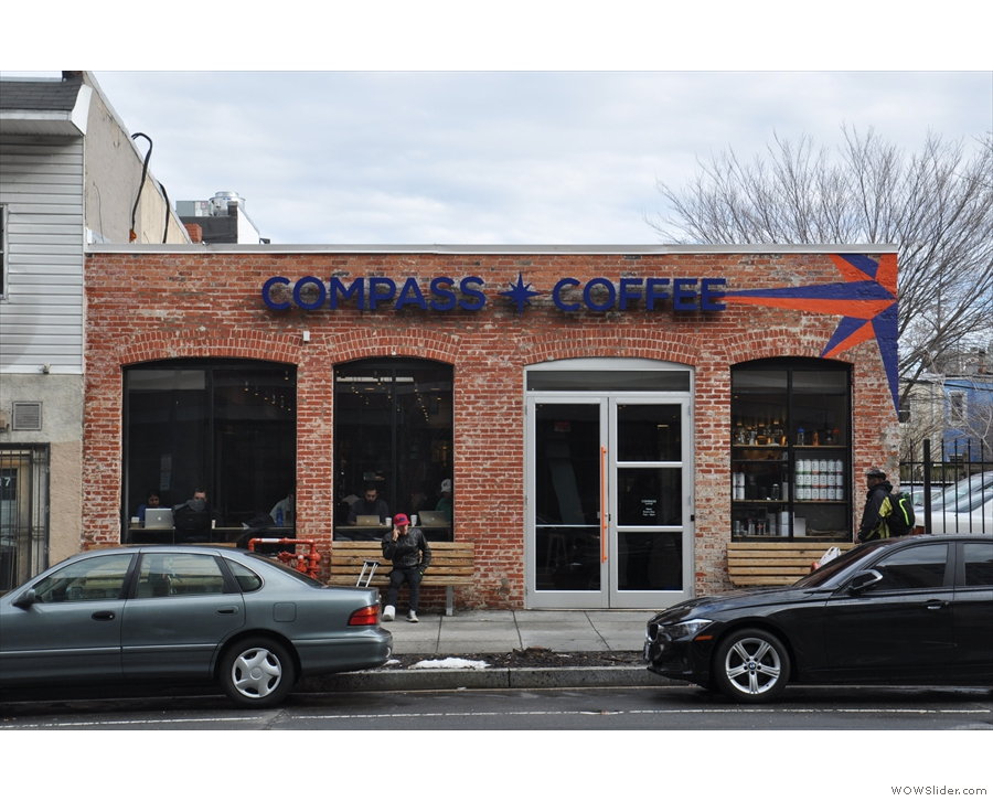 Compass Coffee on Washington DC's NW 7th Street. From the outside, it looks quite small...