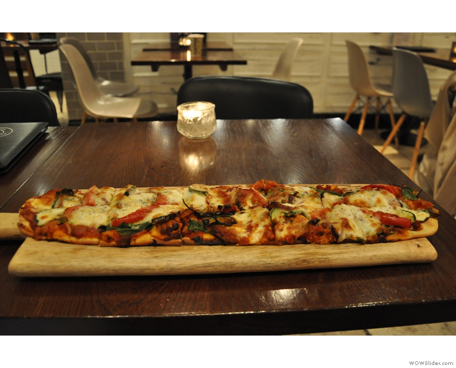 And finally, for dinner, what might be the world's longest pizza!