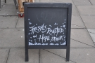 The first indication that this isn't just a regular coffee shop is given by the A-board...