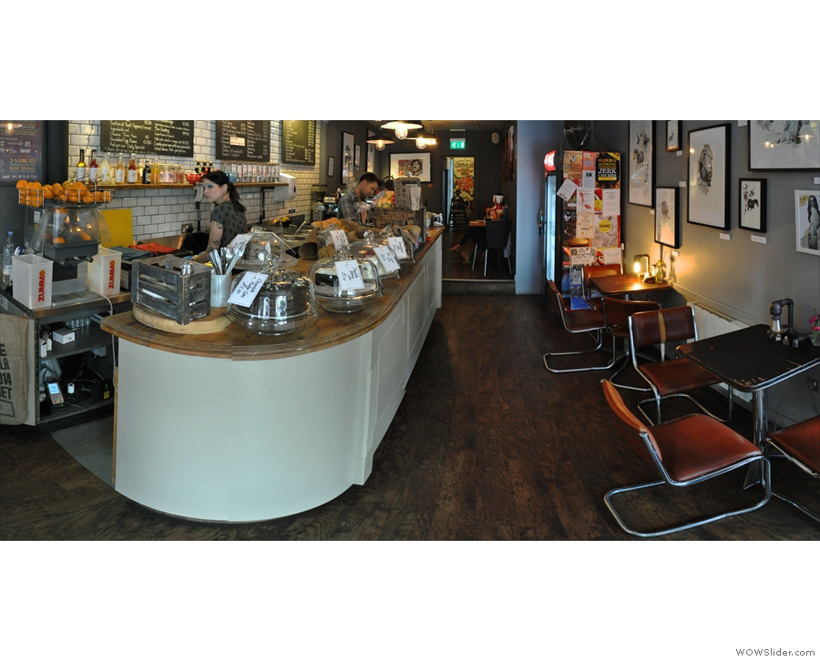 Stepping inside, Cafephilia is L-shaped. The counter's ahead of you in the top part of the L...