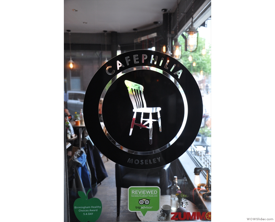 I do like Cafephilia's logo, seen here on the glass to the right of the entrance.