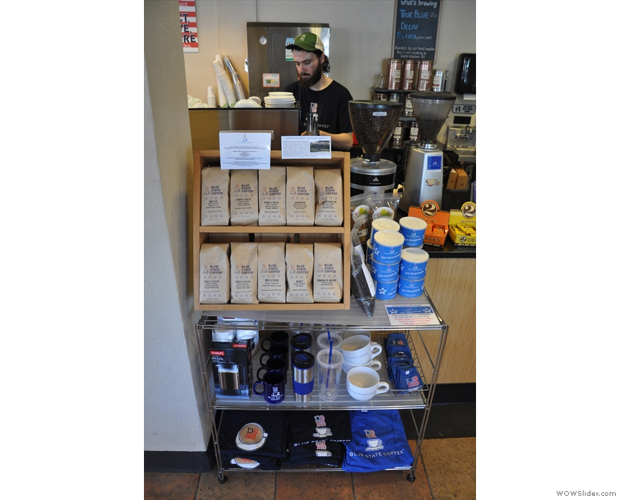 Blue State roasts all its own coffee, which is for sale to the left as you approach the till.