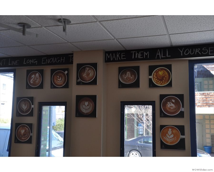 There's lots of interesting things on the walls, such as these pictures of latte art...