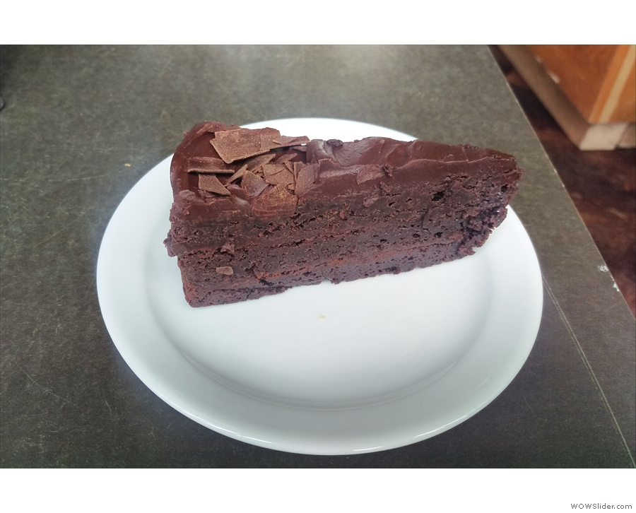 I'll leave you with this, my slice of chocolate cake, baked on-site (it was the last slice too).