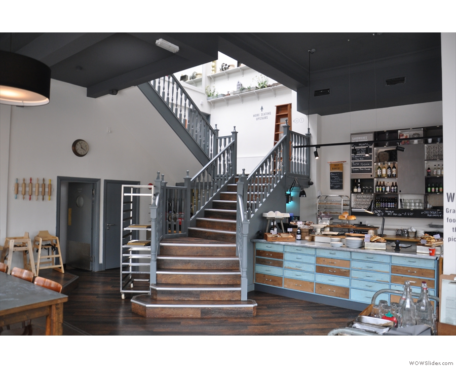 The counter, plus this magnificent staircase, dominates the rest of this side of Bakesmiths.