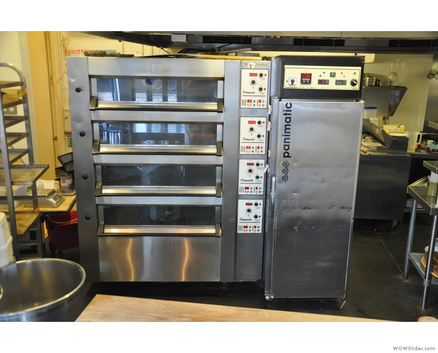 All the baking takes place in the kitchen, which you can see through this giant hatch.
