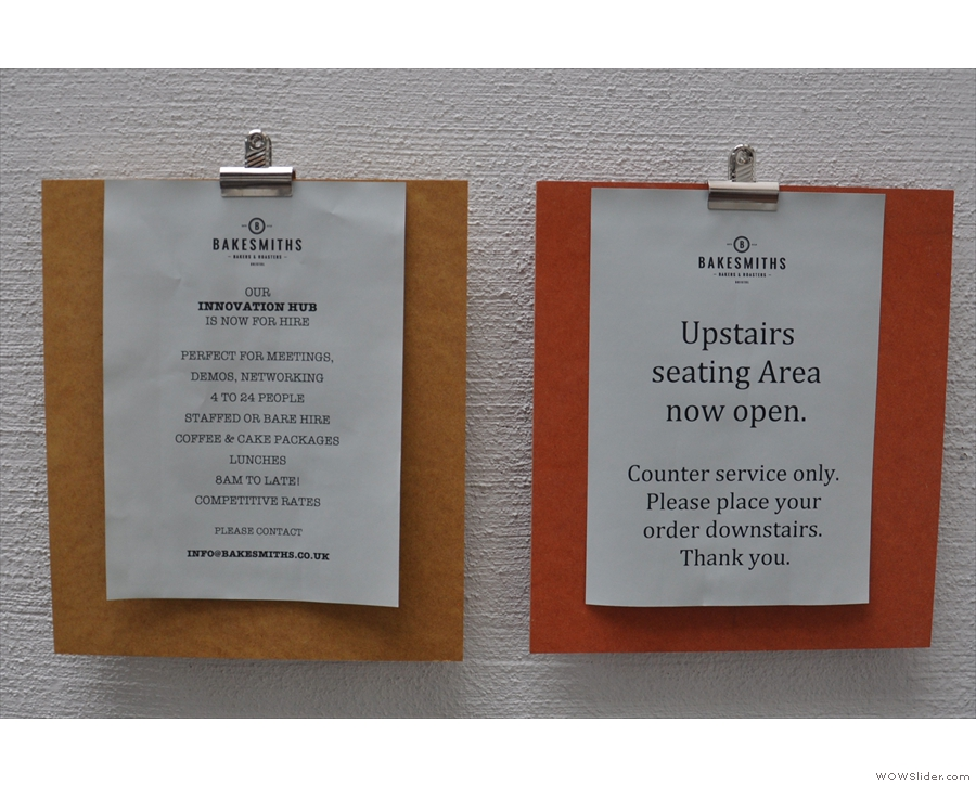 This pair of handy signs tells you what's what. The upstairs seating area sounds fun.