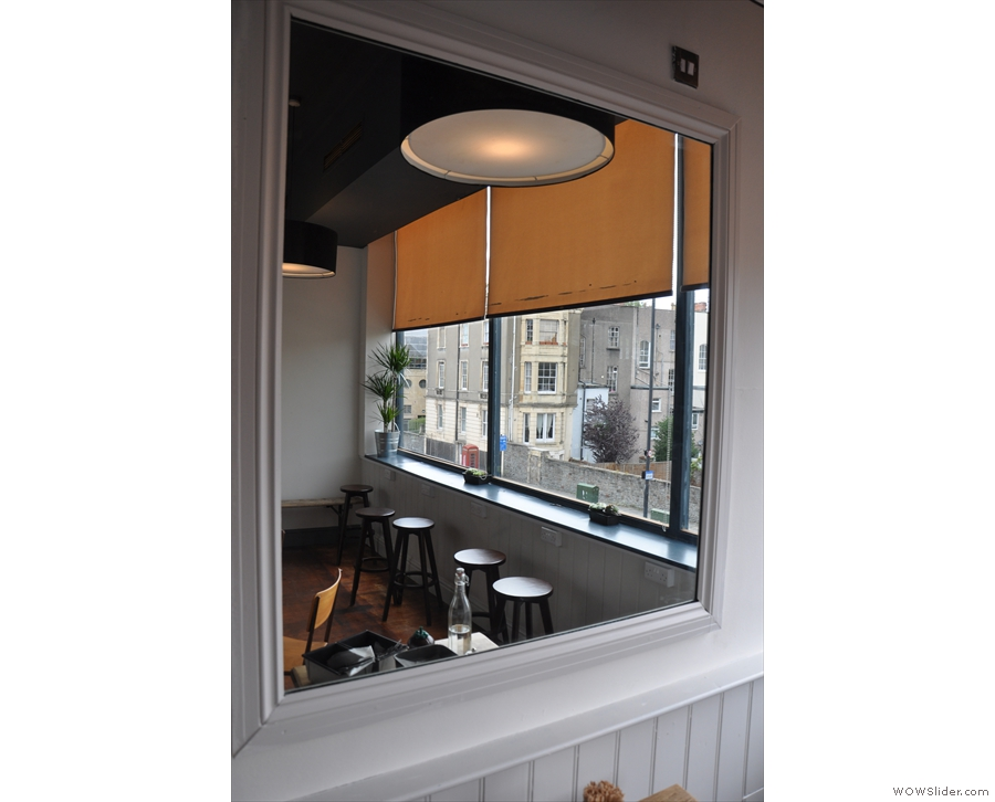 The through-the-looking-glass view of the window-bar (overlooking Whiteladies Road).