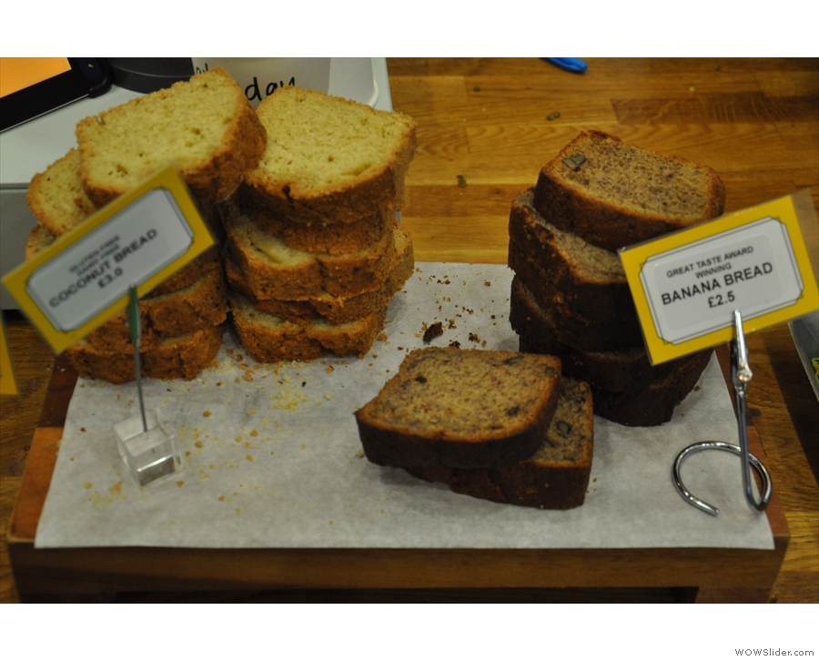 Moving to the left, there's the halfway house of banana or coconut bread...