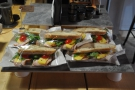 Down near the espresso machine come the sandwiches, already made up & ready to go.