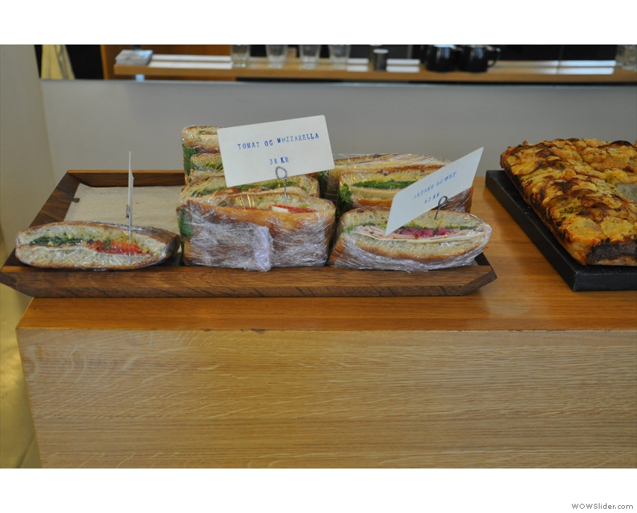There are plenty of savoury options, including sandwiches...