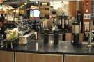 The bulk of the counter is to the left of the till, newly-installed Marco SP9s in the centre.