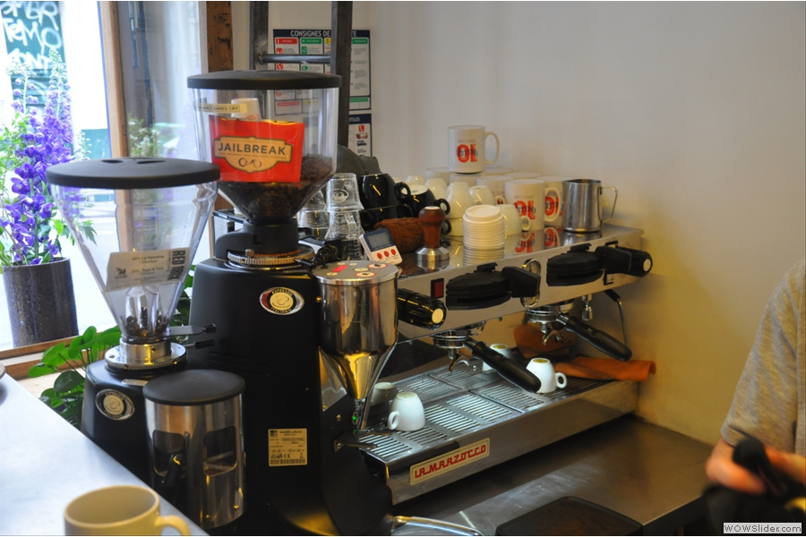 The all-important espresso machine, with Jailbreak from Has Bean and a guest from Square Mile on the other grinder.