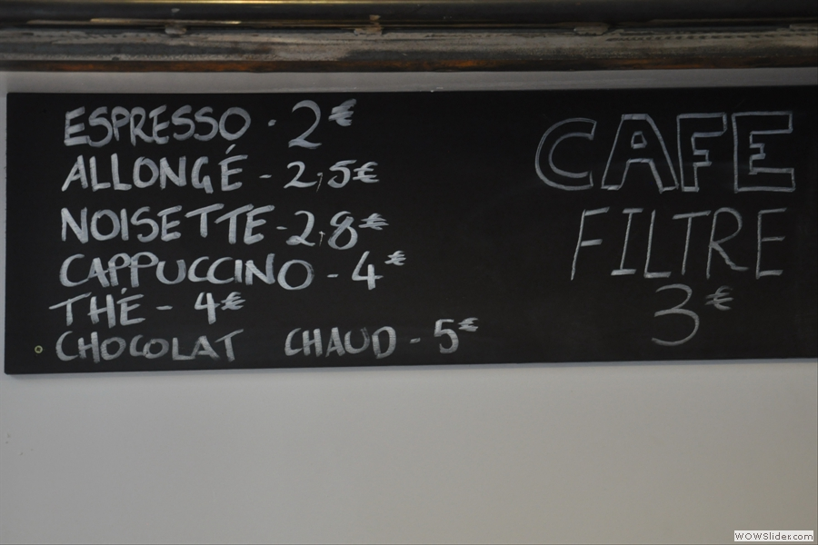 The commendably concise coffee menu.
