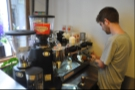 Maestro at work, Part II: Joe steams the milk for my noisette...
