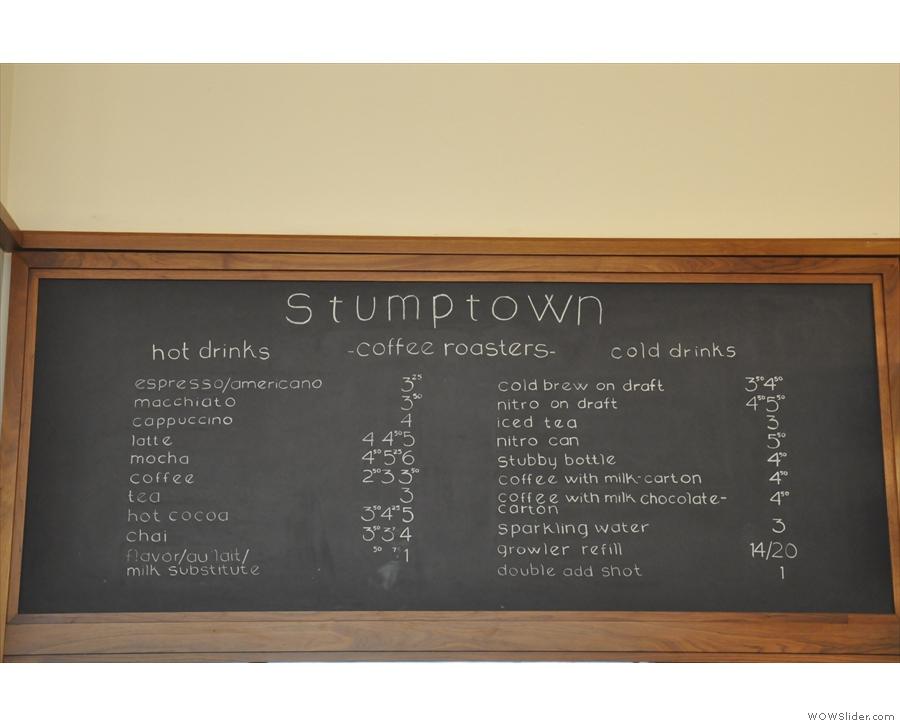 The menu in more detail.
