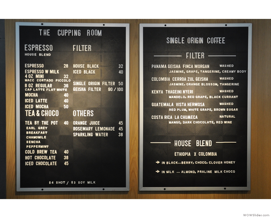 The comprehensive coffee menu, with the choice of single-origin filters on the right.