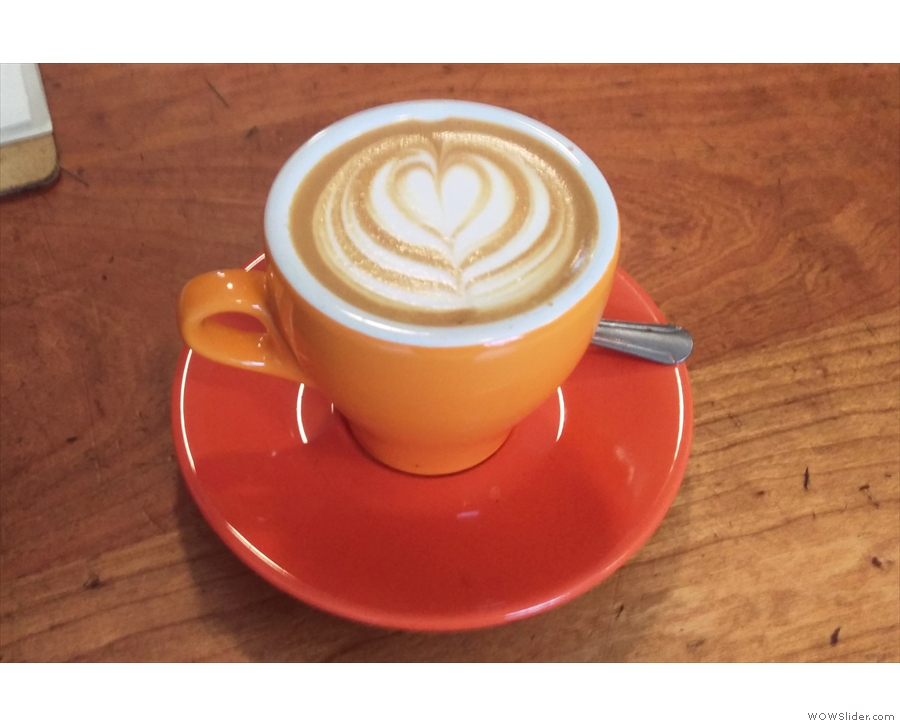 My flat white, made with the Heartbreaker espresso blend.