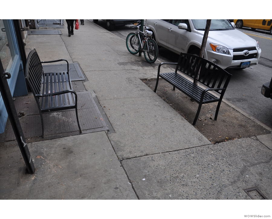 The outside seating consists of these two benches on the pavement. Unusually layout...