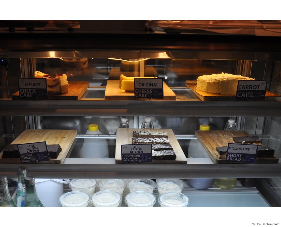 The options on offer are all very British though: cheesecake, brownies, carrot cake...