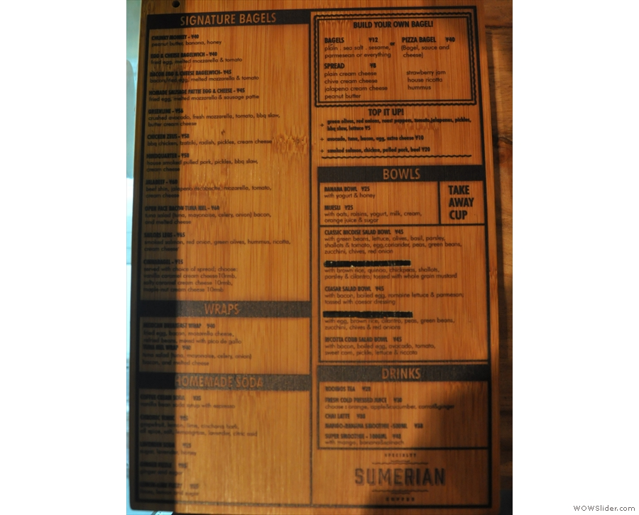 ... while this beautiful wooden menu gives details of the bagels, Sumerian's other speciality.
