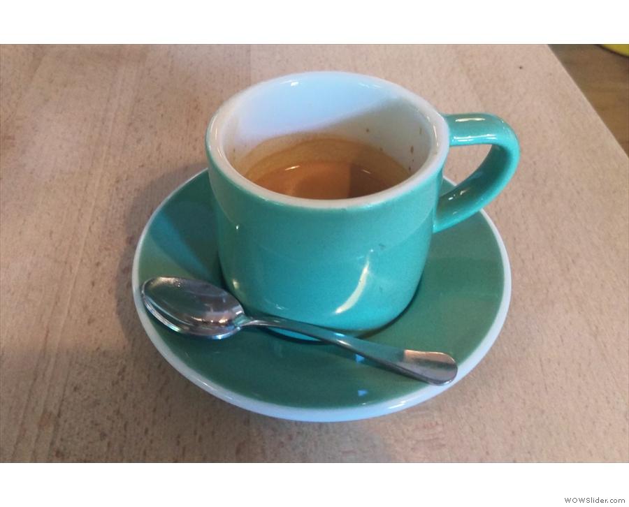 I tried the guest espresso, a single-origin Kochere from Ethiopia.