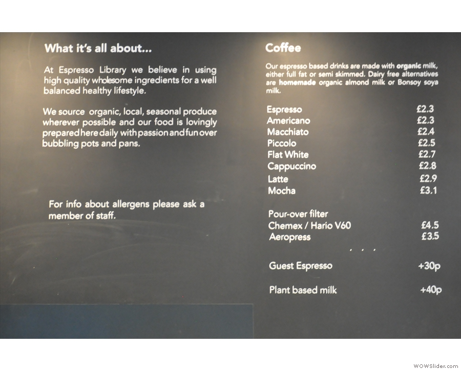 ... along with this explanation next to the coffee menu.