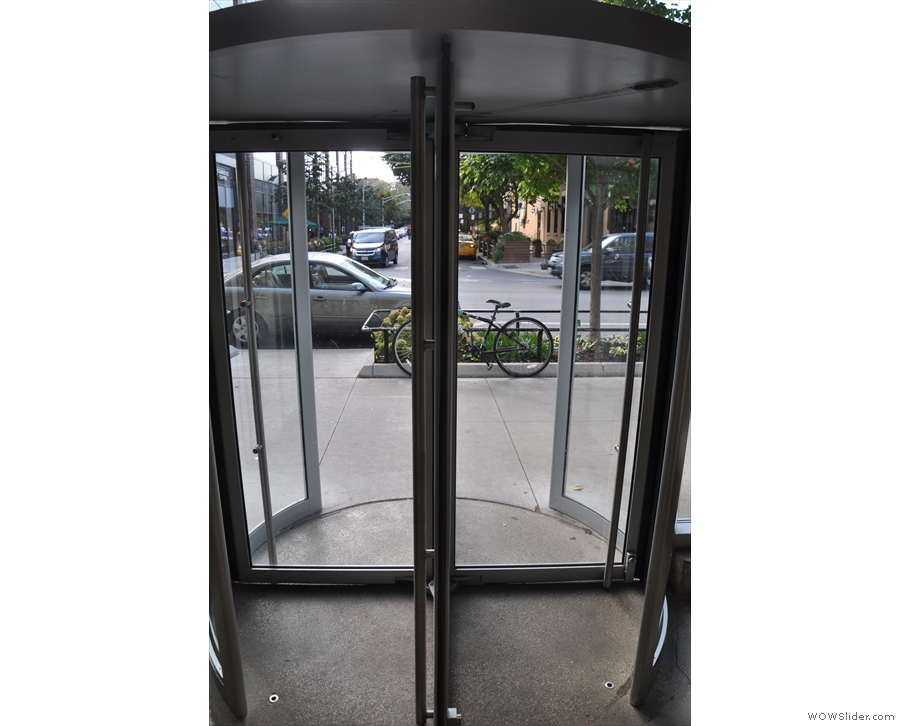 The revolving door from the inside. There's also a conventional door to the left.