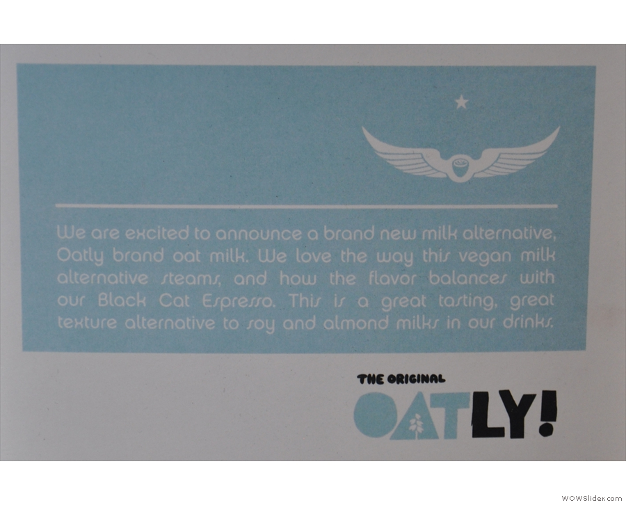 Intelligentsia has also started using Oatly oat-milk as a non-dairy alternative.