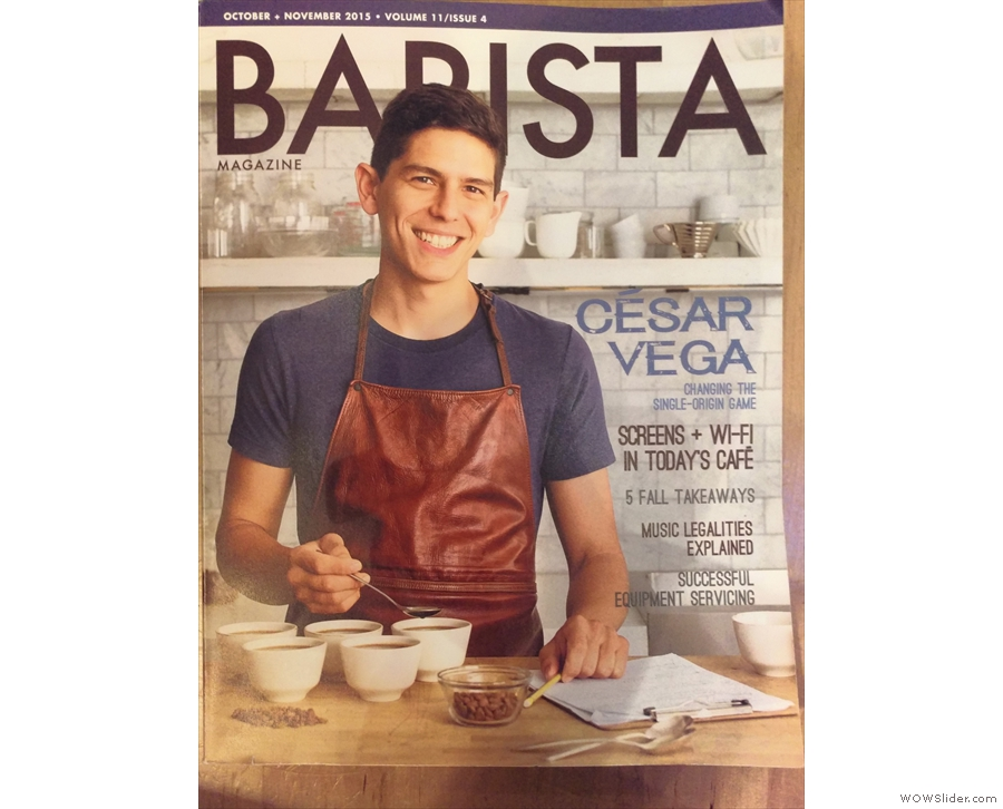 ... since Café Integral's founder, César Vega, was on the front cover.