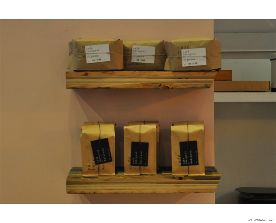 ... while a full range of Café Integral's beans are available for sale.