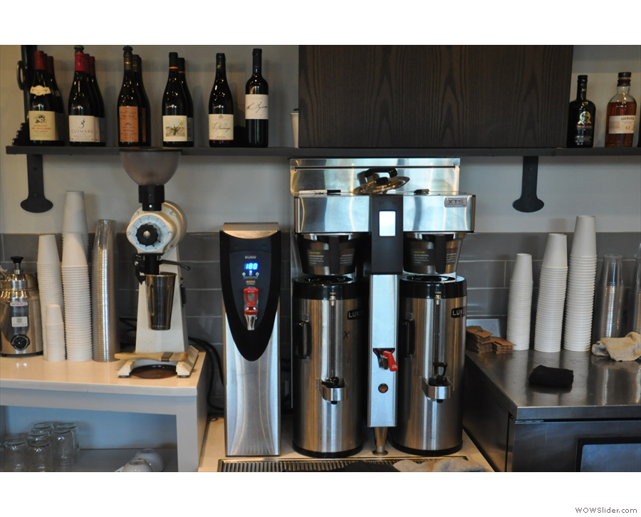 At the counter's other end, beyond the Slayers, is the bulk-brew set-up with its own EK-43.