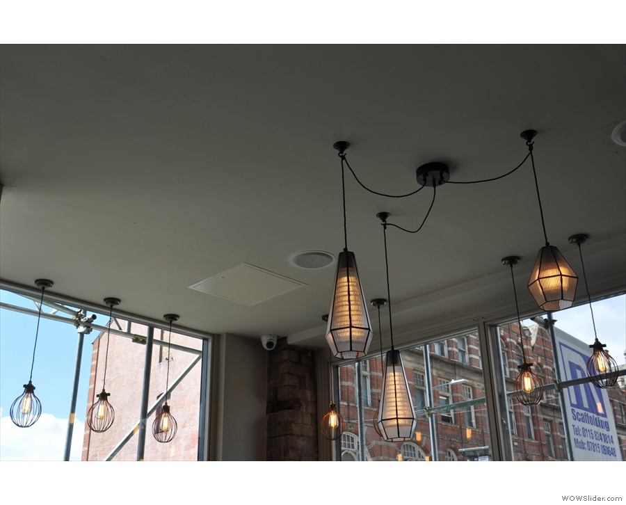Despite the windows, there are lots of light fittings too. These hang to the left of the door...