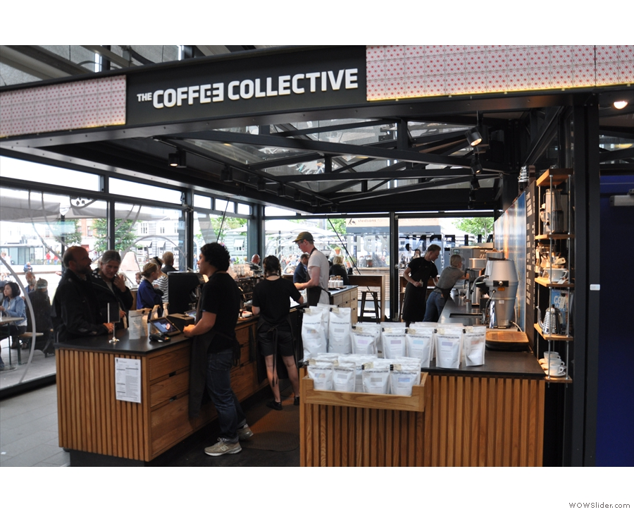 If you're coming from the northern entrance, the Coffee Collective is on the right...