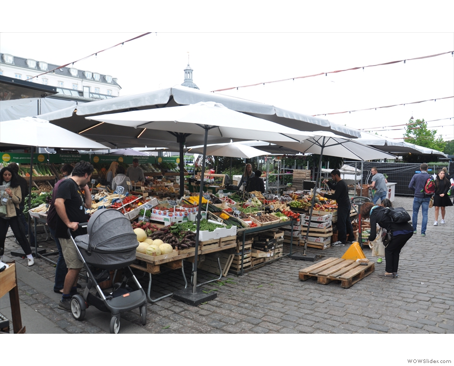 Outside you can find a fruit and vegetable market...