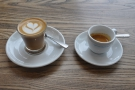 ... and my coffee, a single shot espresso and cortado, made with the guest bean.