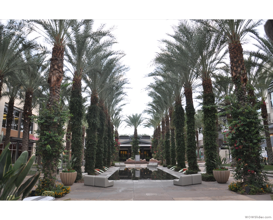 ... where the central area has rows of palm trees, plus a pool/fountains.
