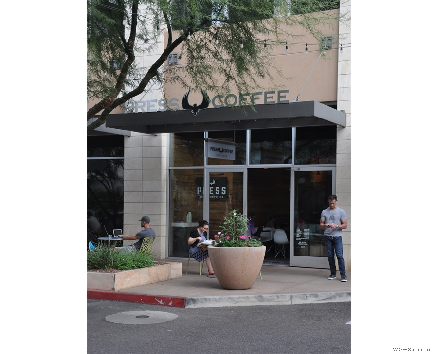 Press Coffee Roasters, in the Scottsdale Quarter, as seen approaching from the east...