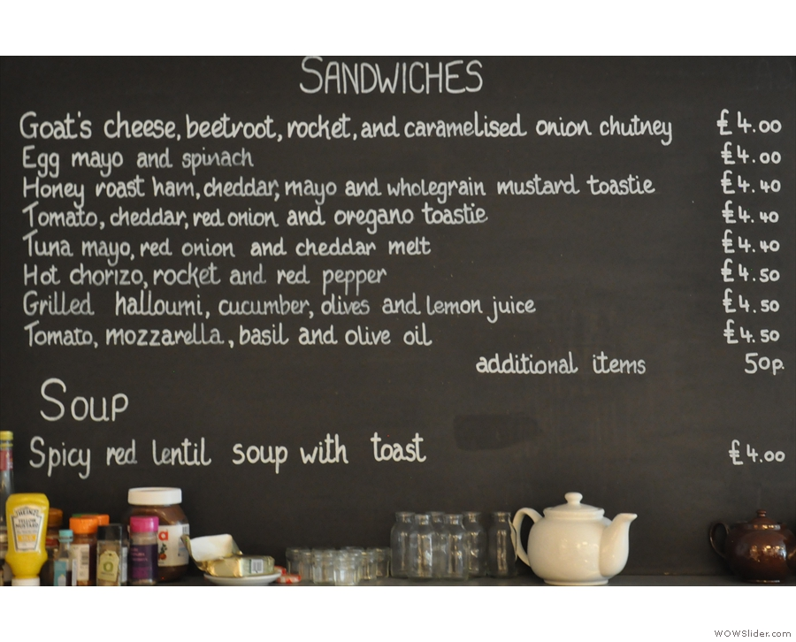 And here are the sandwiches. There's also a separate breakfast menu (if you ask nicely).